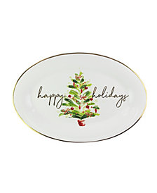American Atelier Mistletoe Memories Oval Serving Platter