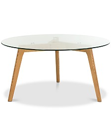 Marjoram Round Glass Coffee Table, Quick Ship