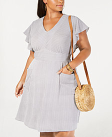 Monteau Trendy Plus Size Flutter-Sleeve Dress