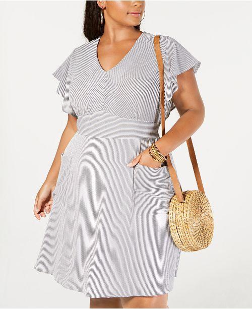 Monteau Trendy Plus Size Flutter-Sleeve Dress