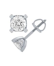 Diamond Stud Earrings in Heart Shape Prongs (1/4 ct. t.w.) in 14k White Gold or 14k Rose Gold