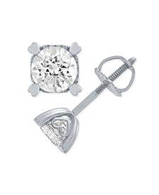 Diamond Stud Earrings in Heart Shape Prongs (1/4 ct. t.w.) in 14k White Gold