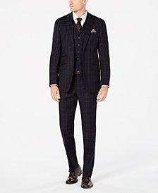 Tallia Men's Slim-Fit Navy/Brown Windowpane Flannel Vested Suit