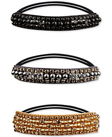 Deepa Tri-Tone 3-Pc. Set Crystal & Bead Ponytail Holders