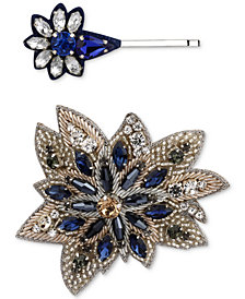 Deepa Two-Tone 2-Pc. Set Crystal & Bead Fabric Hair Clips