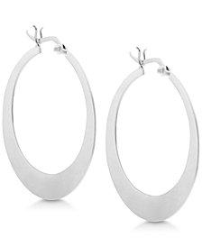 Essentials Large Flat Graduated Hoop Earrings in Fine Silver Plate
