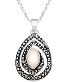 """Pink Shell & Marcasite 18"""" Pendant Necklace in Fine Silver-Plate"""