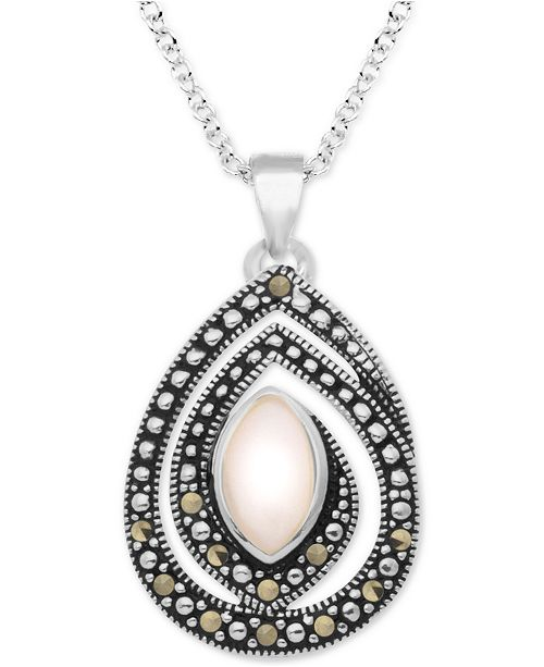 """Macy's Pink Shell & Marcasite 18"""" Pendant Necklace in Fine Silver-Plate"""