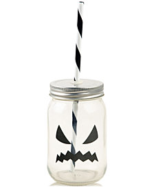 Home Essentials Pumpkin Mason Jar Glass with Lid & Straw