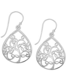Essentials Teardrop Tree Openwork Drop Earrings in Fine Silver-Plate