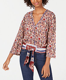 Self Esteem Juniors' Printed Tie-Front Top