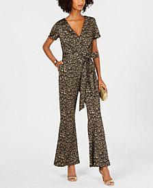 Ivanka Trump Cheetah-Print Belted Jumpsuit