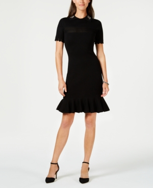 Taylor EMBROIDERED KNIT SWEATER DRESS