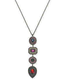"I.N.C. Hematite-Tone Multi-Crystal Pendant Necklace, 30"" + 3"" extender, Created for Macy's"