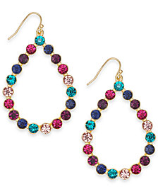 "I.N.C. Extra Large Gold-Tone Multi-Stone Teardrop Drop Earrings 2.5"", Created for Macy's"