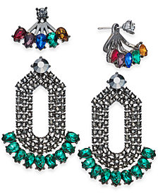 I.N.C. Day & Night Hematite-Tone 2-Pc. Box Set Coordinated Multi-Stone Earring Jackets and Drop Earrings, Created for Macy's