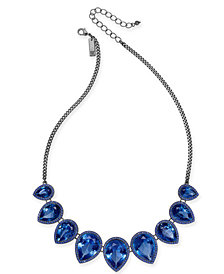 "I.N.C. Hematite-Tone Blue Crystal Drop Collar Necklace, 18"" + 3"" extender, Created for Macy's"
