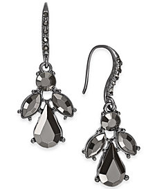 I.N.C. Hematite-Tone Stone & Crystal Drop Earrings, Created for Macy's
