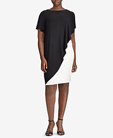 Lauren Ralph Lauren Plus Size Two-Tone Overlay Dress