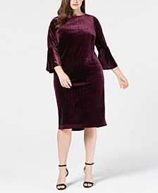 Plus Size Velvet Bell-Sleeve Dress