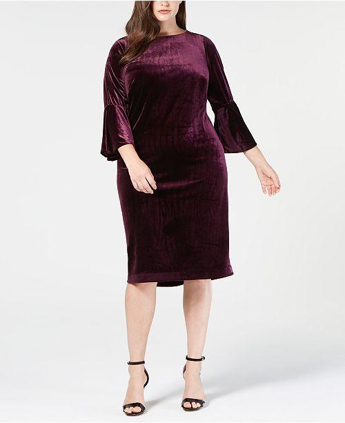 e39def6f9f5 Calvin Klein Plus Size Velvet Bell-Sleeve Dress   Reviews - Dresses ...