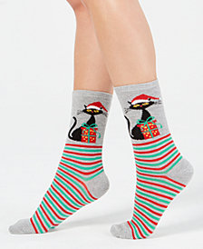 Charter Club Women's Cat Stripe Crew Socks, Created for Macy's