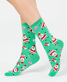 Charter Club Women's Happy Santa Crew Socks, Created for Macy's