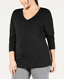 Cuddl Duds Plus Size Softwear Long-Sleeve V-Neck Top