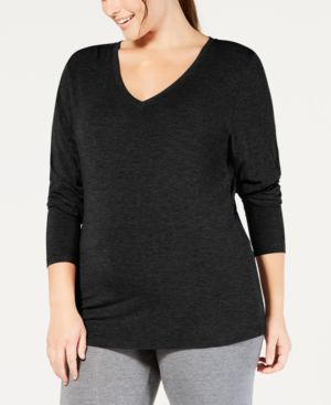 Image of Cuddl Duds Plus Size Softwear Long-Sleeve V-Neck Top