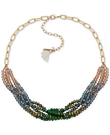 "lonna & lilly Gold-Tone Link & Tassel Multi-Row Beaded Statement Necklace, 16"" + 3"" extender"