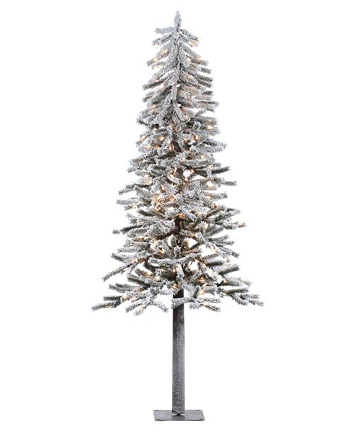 Vickerman 6' Flocked Alpine Artificial Christmas Tree with 200 Clear Lights
