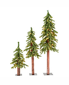 2' 3' 4' Natural Alpine Artificial Christmas Tree Set with 185 Multi-Colored Lights