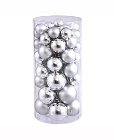 "Vickerman 1.5""-2"" Silver Shiny/Matte Finish Ball Christmas Ornament, 50 per Box"