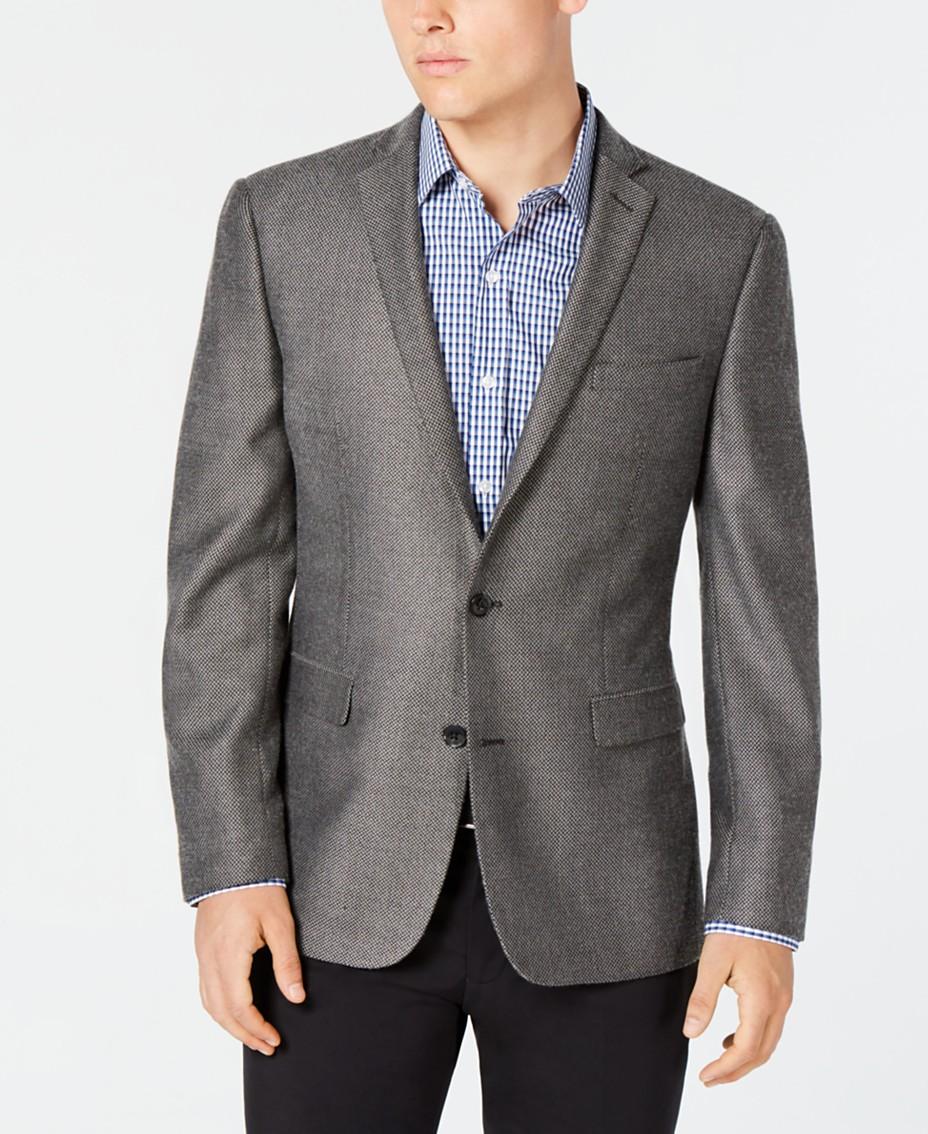 Bar III GreyBlack Print Slim Fit Sport Coat & Reviews Blazers
