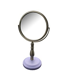 Briggs Freestanding Bath Magnifying Makeup Mirror with Lavender Purple base and Nana Pedestal