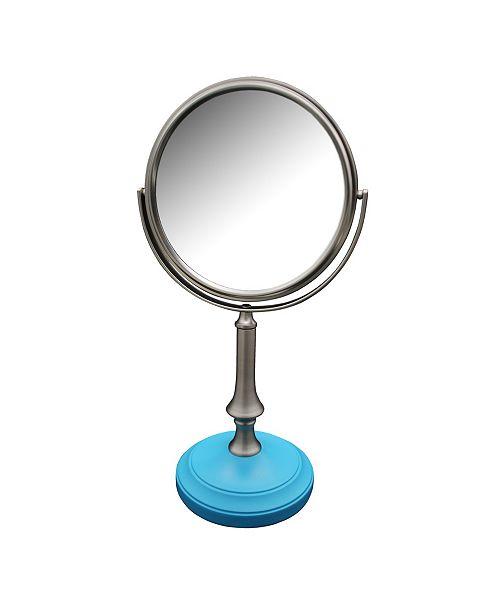 Elegant Home Fashions Simplicity Freestanding Bath Magnifying Makeup Mirror with Deep Sea Blue base and Jinjin Pedestal