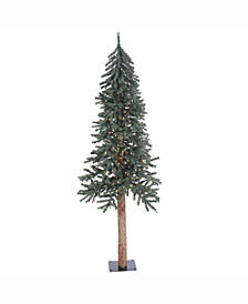 6' Natural Bark Alpine Artificial Christmas Tree with 250 Clear Lights