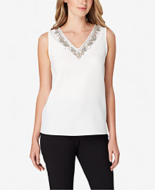 Tahari ASL Sleeveless Embellished Shell