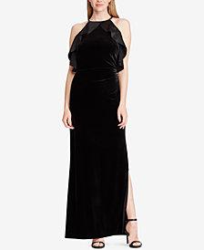 Lauren Ralph Lauren Velvet Ruffle-Trim Gown