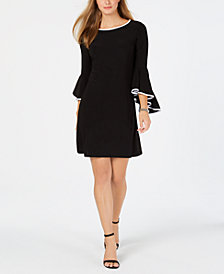 MSK Petite Contrast Bell-Sleeve Dress