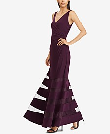 Tulle-Panel Jersey Gown