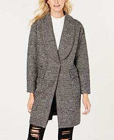 GUESS Beaded-Trim Plaid Coat
