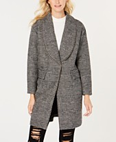 1acefa60d2 GUESS Beaded-Trim Plaid Coat