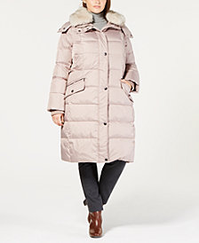 London Fog Plus Size Faux-Fur-Collar Hooded Puffer Coat