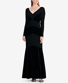 Lauren Ralph Lauren Velvet-Trim Gown