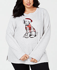 Karen Scott Plus Size Cotton Holiday-Pup Sweatshirt, Created for Macy's