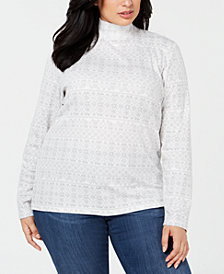Karen Scott Plus Size Cotton Printed Mock Turtleneck Top, Created for Macy's