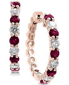 EFFY® Ruby (1-1/3 ct. t.w.) & Diamond (3/4 ct. t.w.) Hoop Earrings in 14k Rose Gold