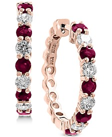 EFFY® Ruby (1-1/3 ct. t.w.) & Diamond (3/4 ct. t.w.) Hoop Earrings in 14k Rose Gold