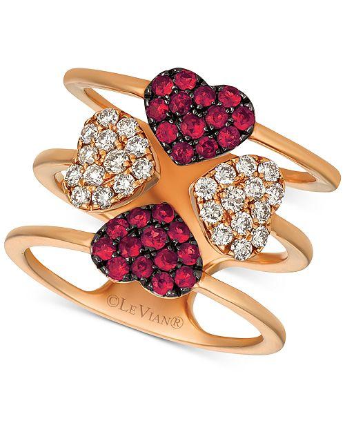 Le Vian Ruby (1/2 ct. t.w.) & Diamond (1/2 ct. t.w.) Heart Ring in 14k Rose Gold